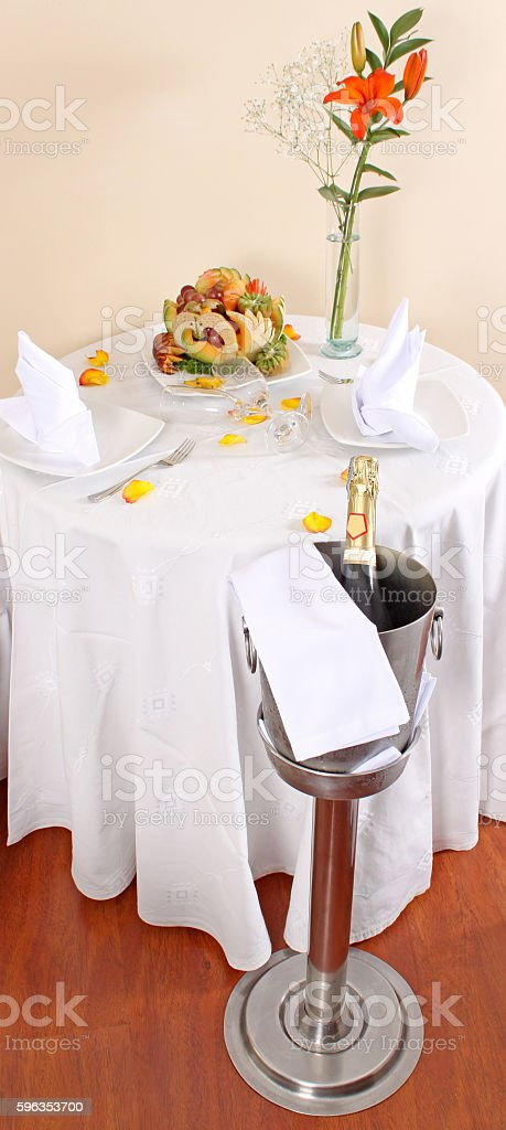 Champagne cooler, bottle, glasses, rose royalty-free stock photo