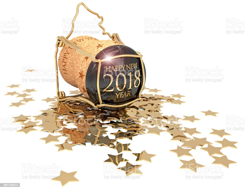 champagne cork and golden stars on white stock photo