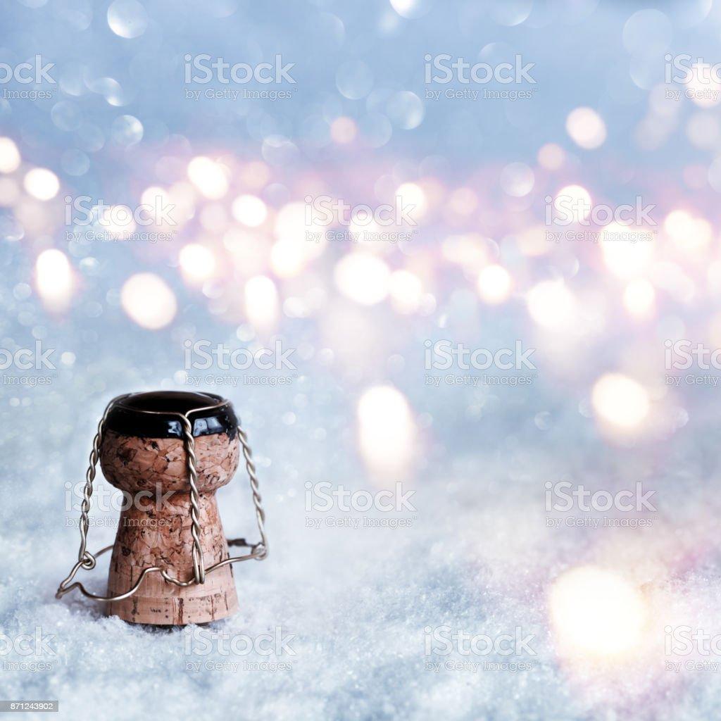 Bouchon de Champagne dans la neige - Photo