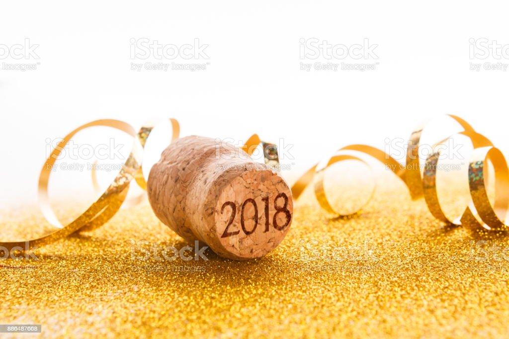 Bouchon de Champagne avec timbre de 2018 et serpentine - Photo