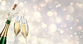 Champagne Explosion With Toast Of Flutes