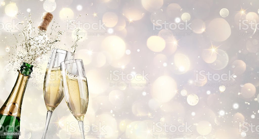 Champagne Explosion With Toast Of Flutes - foto de stock