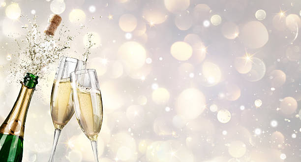 Champagne Explosion With Toast Of Flutes stock photo
