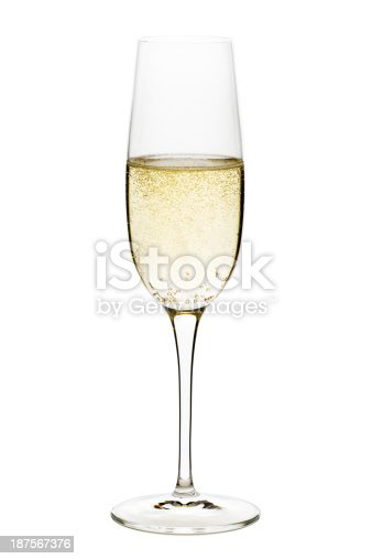 Champagne Flute Glass Isolated on White Background