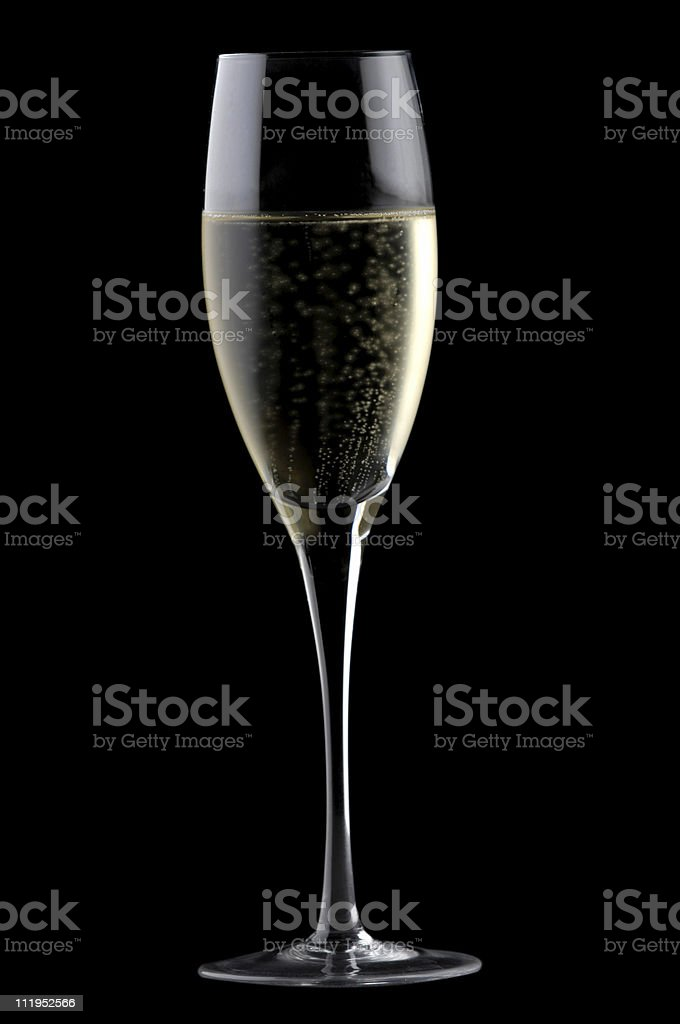 Champagne Flute with Bubbles on Black royalty-free stock photo