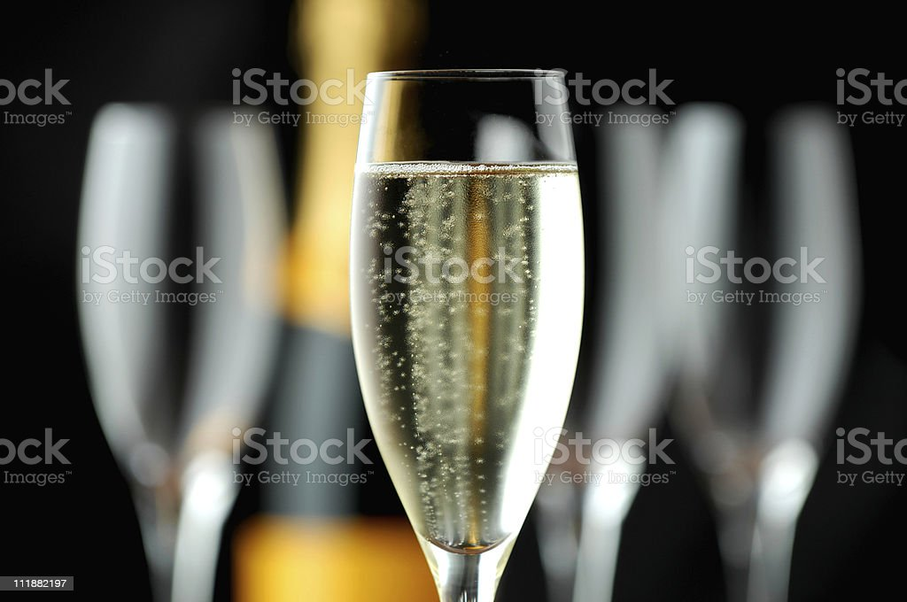 Champagne Flutes and Bottle stock photo