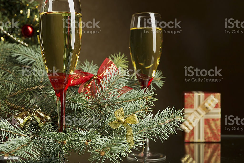 Champagne for Christmas royalty-free stock photo
