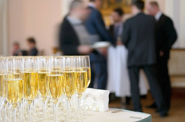Champagne for participants of business meeting. stock photo