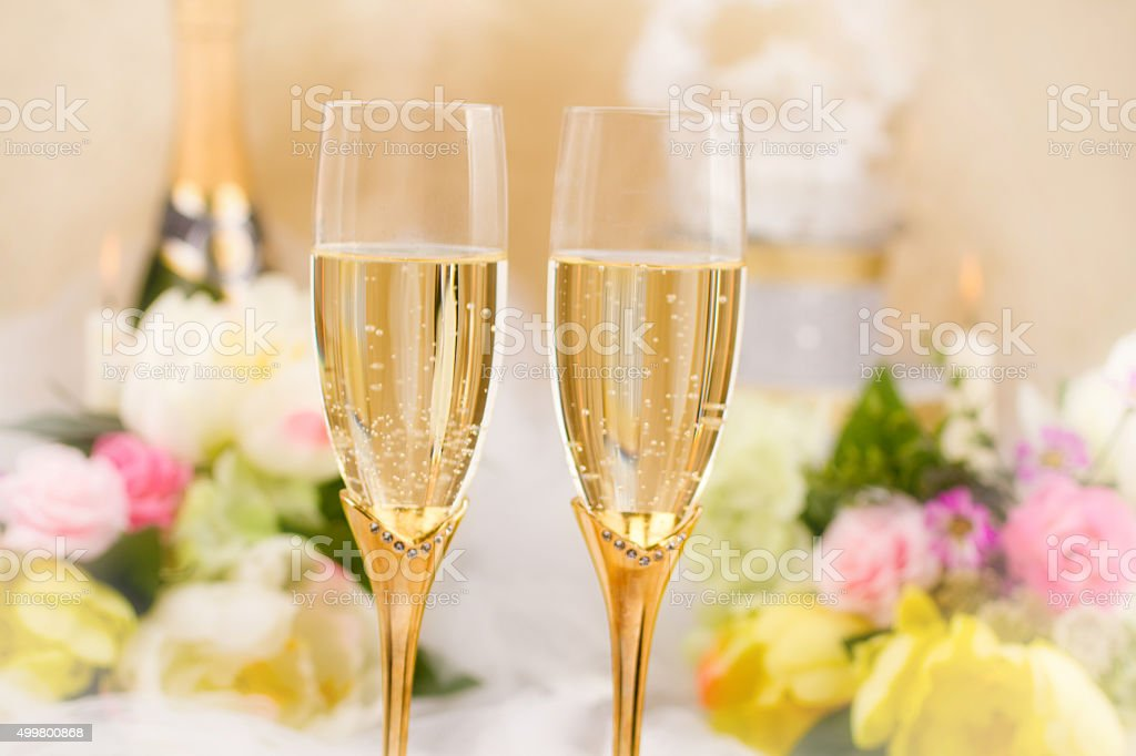 Champagne for wedding stock photo