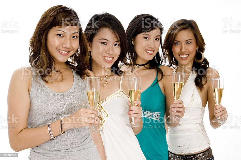 Champagne Girls royalty-free stock photo