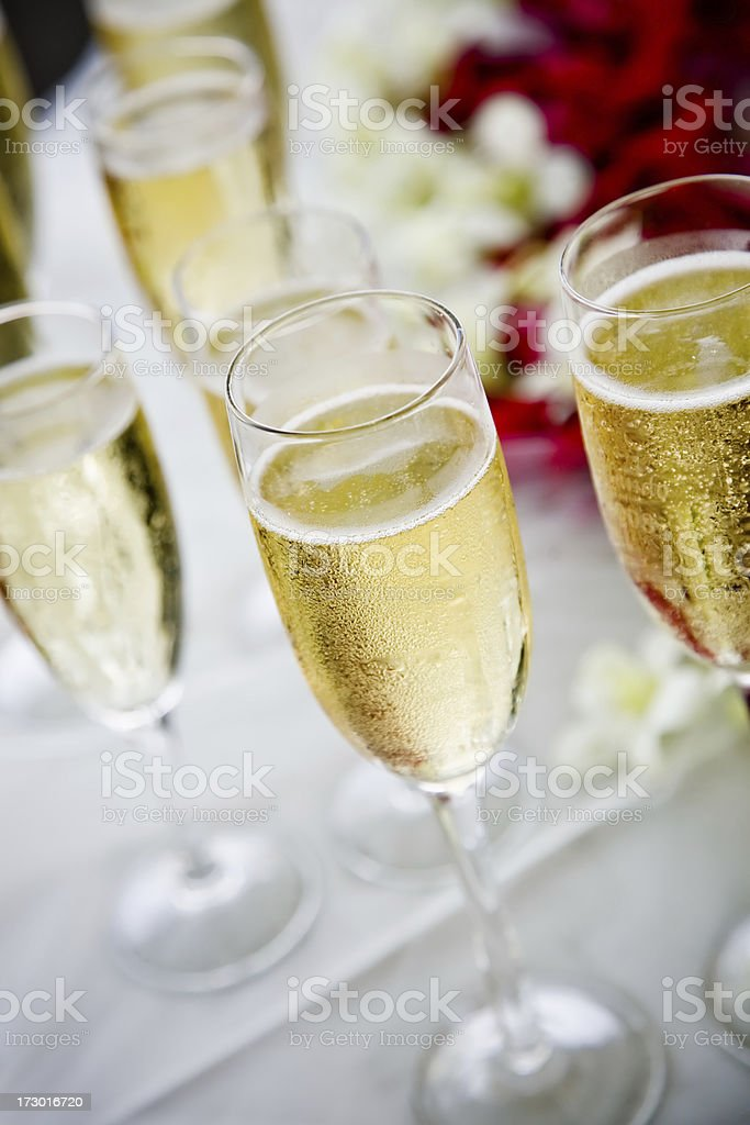 champagne glass and flowers royalty-free stock photo