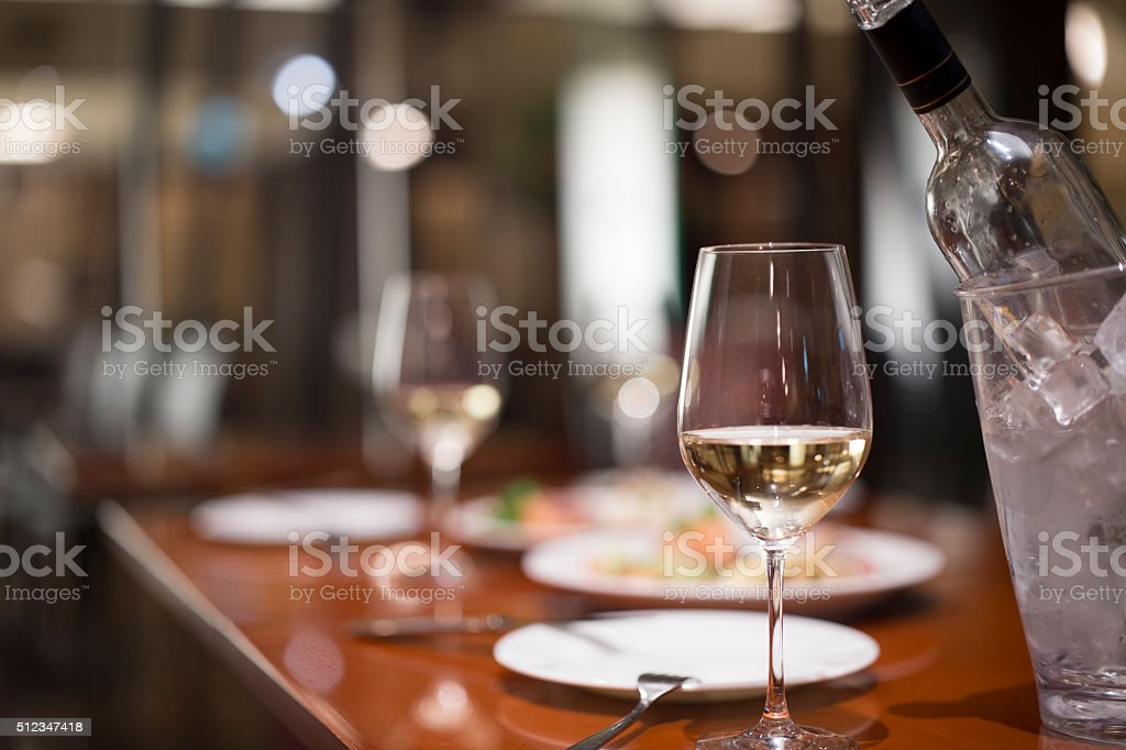 Champagne glass contained in glass stock photo