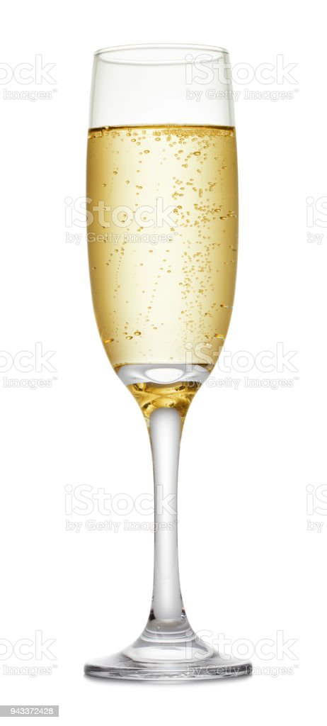 Champagne glass on white background stock photo