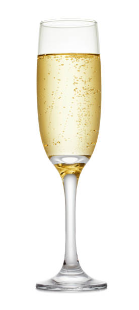 champagne glass on white background - champagne stock pictures, royalty-free photos & images