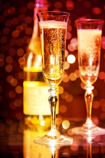 Champagne Glasses And Bottle Stock Photo - Download Image Now