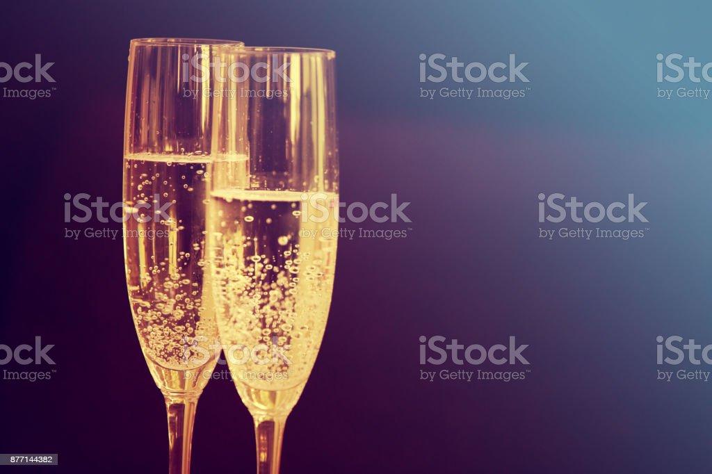 champagne glasses. Happy new year stock photo