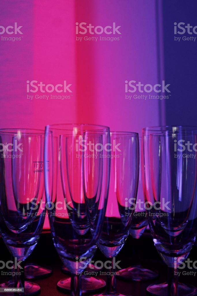 champagne glasses in atmospheric light royalty-free stock photo