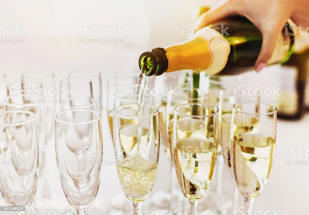 Champagne glasses on a party stock photo
