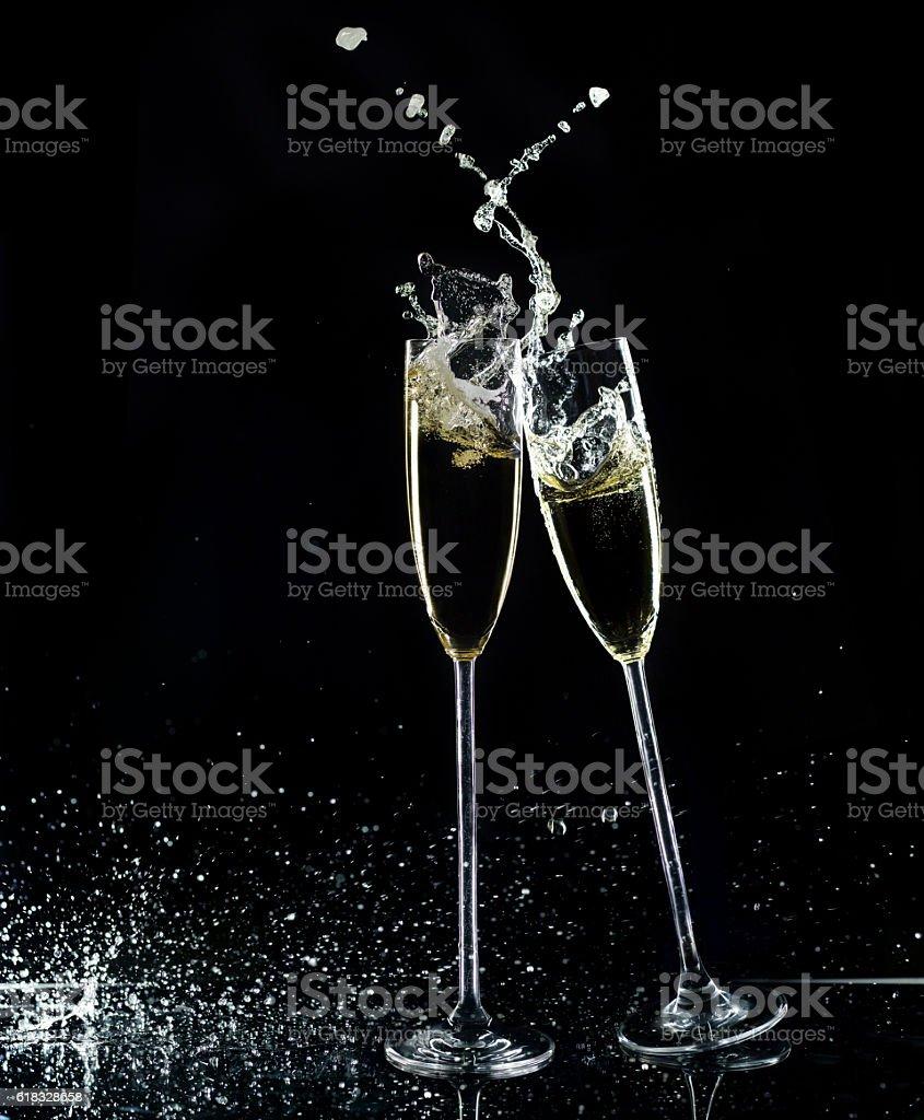 Champagne Glasses On Black Background stock photo