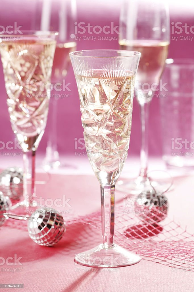 Champagne glasses on celebration table royalty-free stock photo