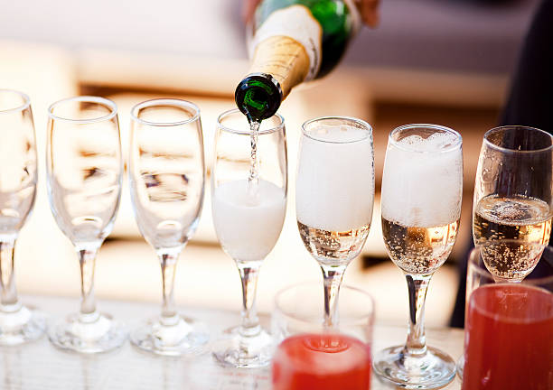 champagne glasses - champagne stock pictures, royalty-free photos & images