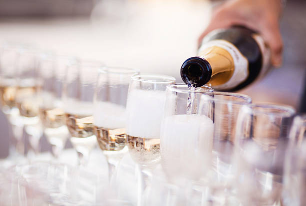 champagne glasses - anniversary stock photos and pictures