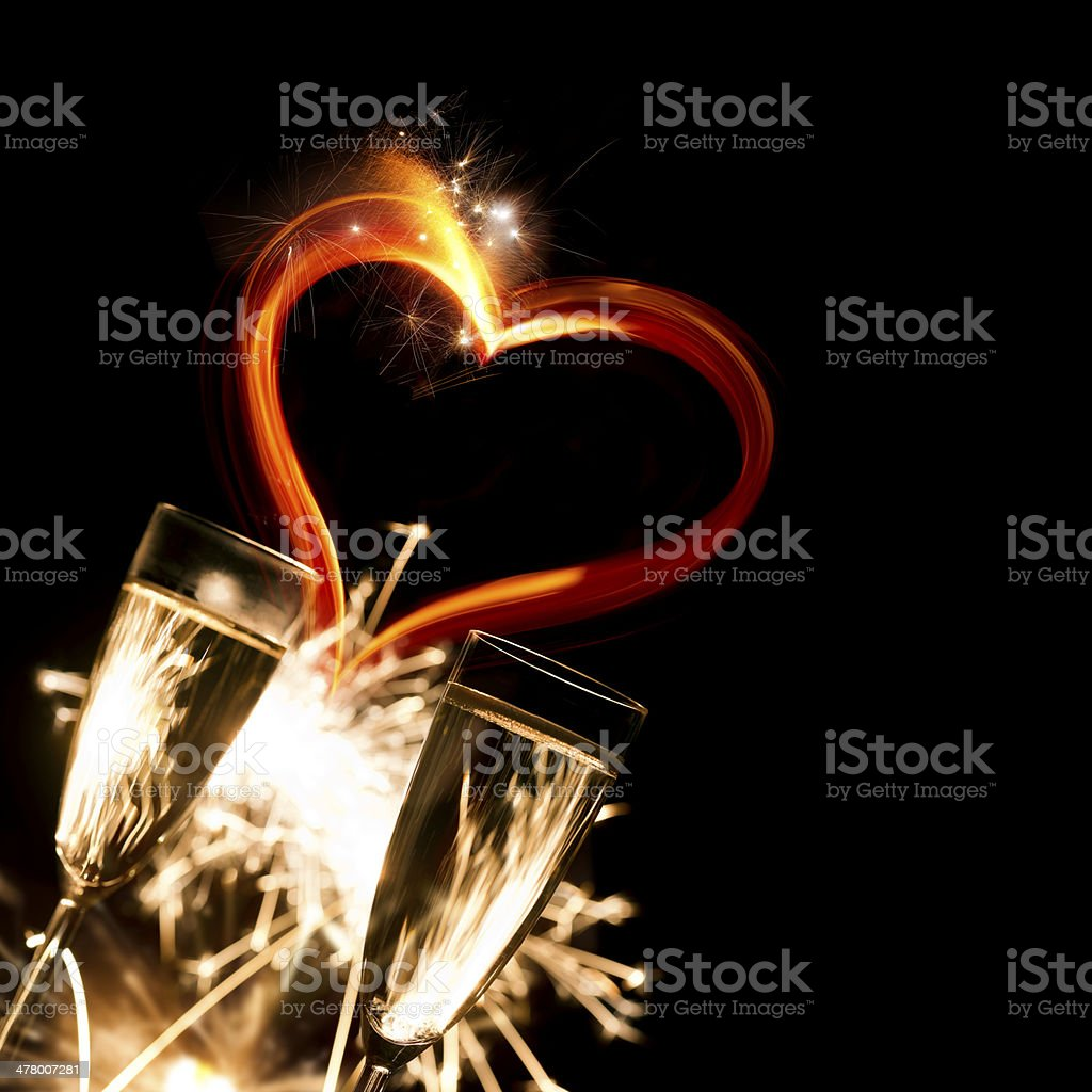 Champagne Glasses With Heart royalty-free stock photo