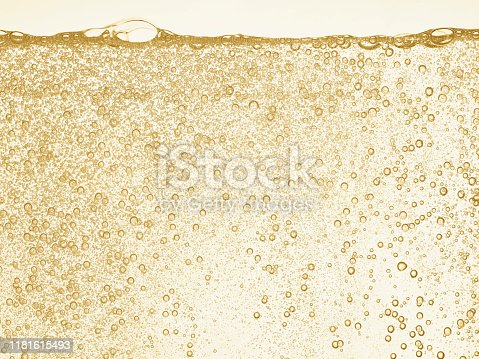 Champagne gold bubbles This is a high-speed photo