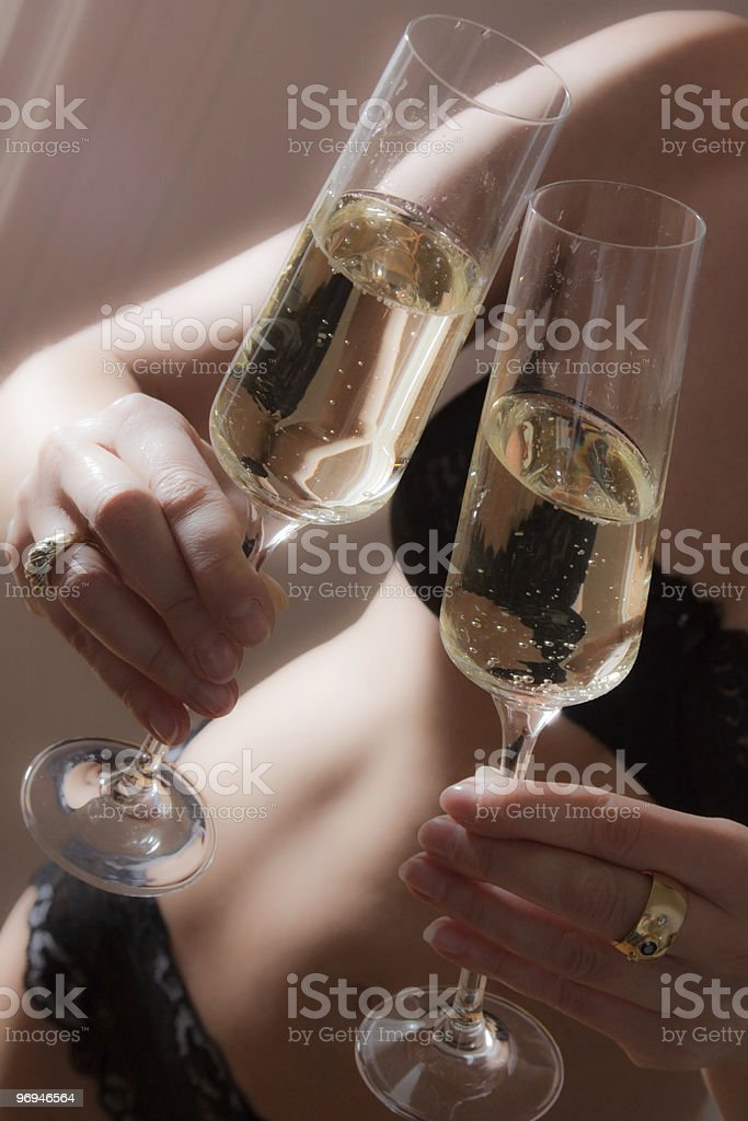 Champagne a deux royalty-free stock photo