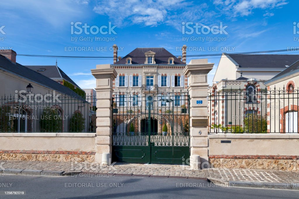 Champagne house Bollinger in A Aÿ, France - July 23 2020: The Champagne house Bollinger was founded in 1829. Its a family business that remained independent to this days. Architecture Stock Photo