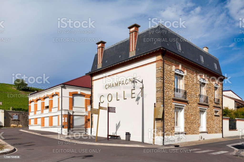 Champagne house Collet in A Aÿ, France - July 23 2020: The Champagne house Collet was founded in 1921. It was first established in Dizy then moved to Aÿ in 1930 in its current location. Architecture Stock Photo