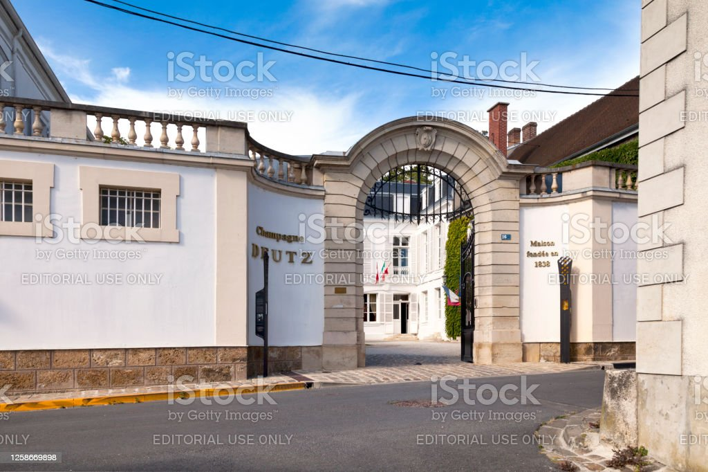 Champagne house Deutz in A Aÿ, France - July 23 2020: The Champagne house Deutz was founded in 1838 by William Deutz and Pierre-Hubert Geldermann and has since been run by successive generations of the Deutz and Geldermann families. Architecture Stock Photo