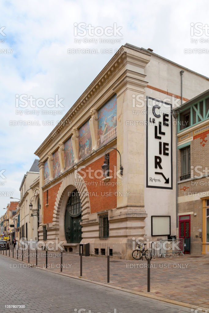 """Champagne house Jacquart in Reims Reims, France - June 09 2020: Former headquarters of the Champagne house """"Jacquart"""" in the city center of Reims. Architecture Stock Photo"""
