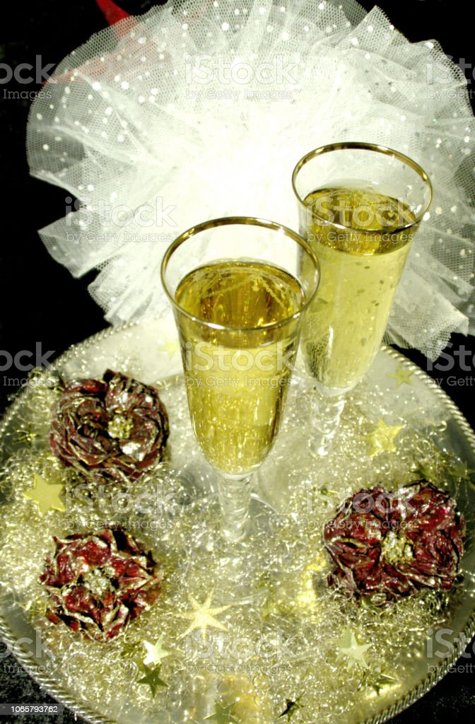 Champagne in beautiful for invitation or dream stock photo