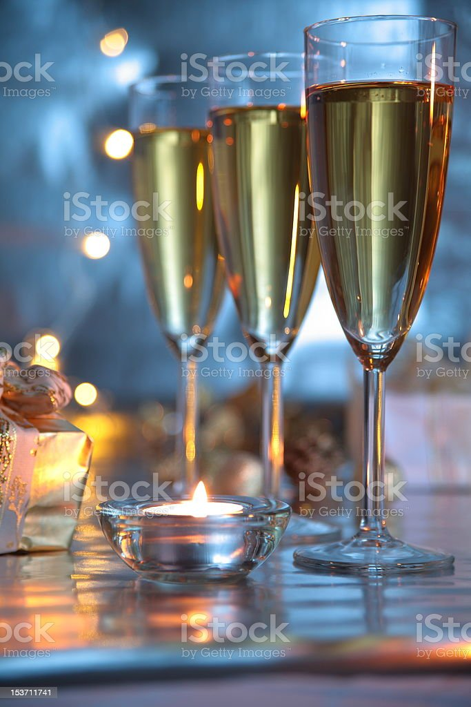 Champagne in glasses and lights royalty-free stock photo