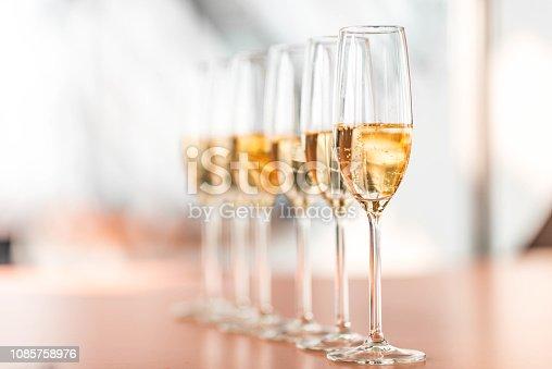 istock Champagne in glasses 1085758976