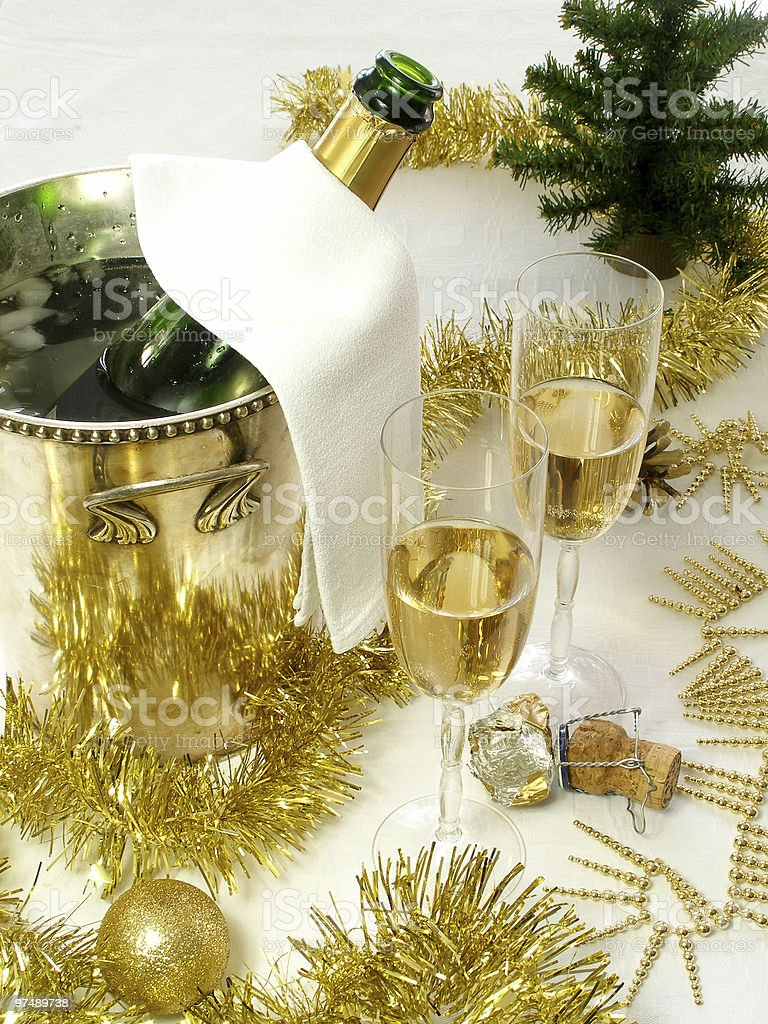 Champagne is served for two royalty-free stock photo