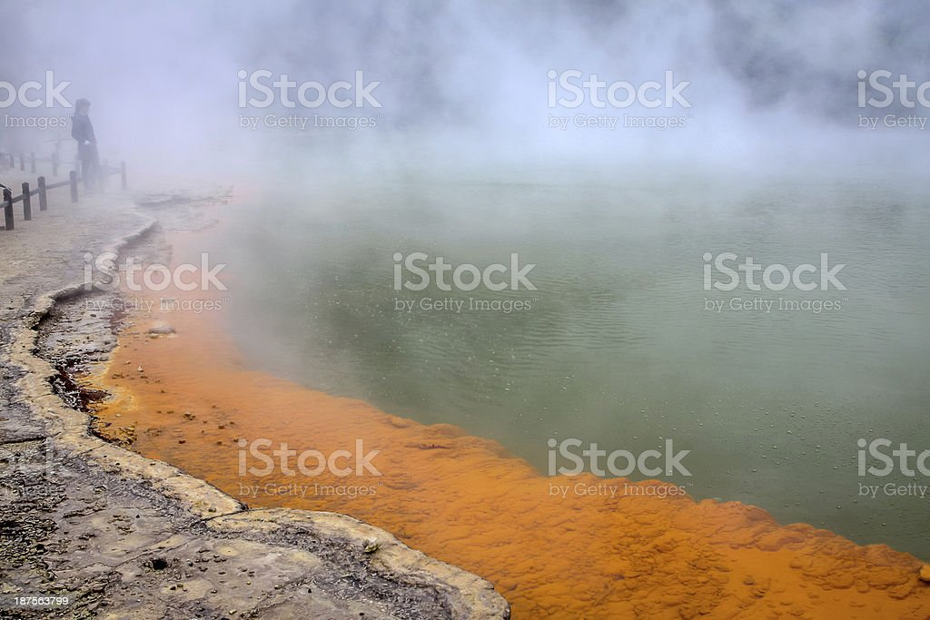 Champagne Lake tranquil scene, single person on the shore stock photo