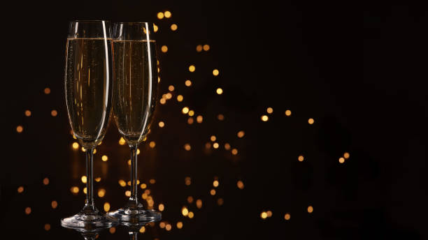 Champagne on a dark background. stock photo