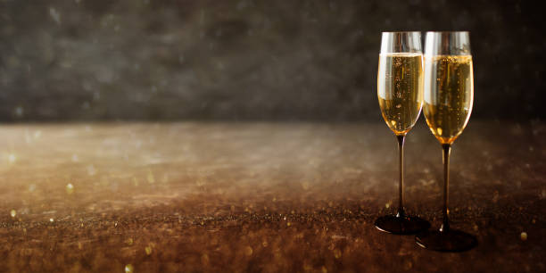 Champagne on a wooden table stock photo