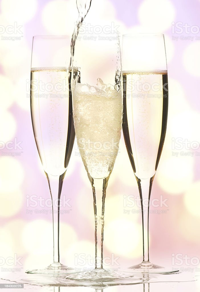 Champagne on holiday bokeh background. royalty-free stock photo