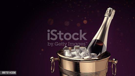 istock Champagne on ice bucket. 897514336