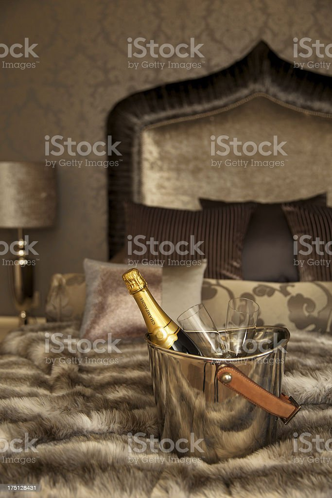 champagne on ice in a romantic setting royalty-free stock photo