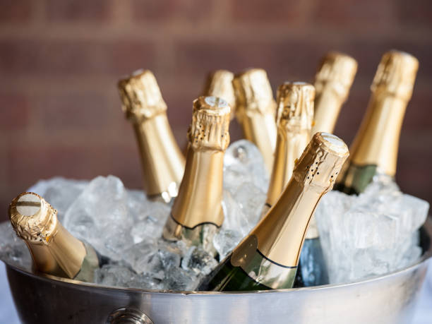 Champagne on Ice Champagne bottle in a bucket of ice. cooler container stock pictures, royalty-free photos & images