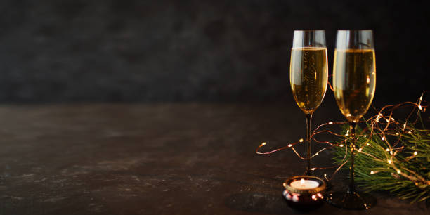 Champagne on old dark stone plate stock photo