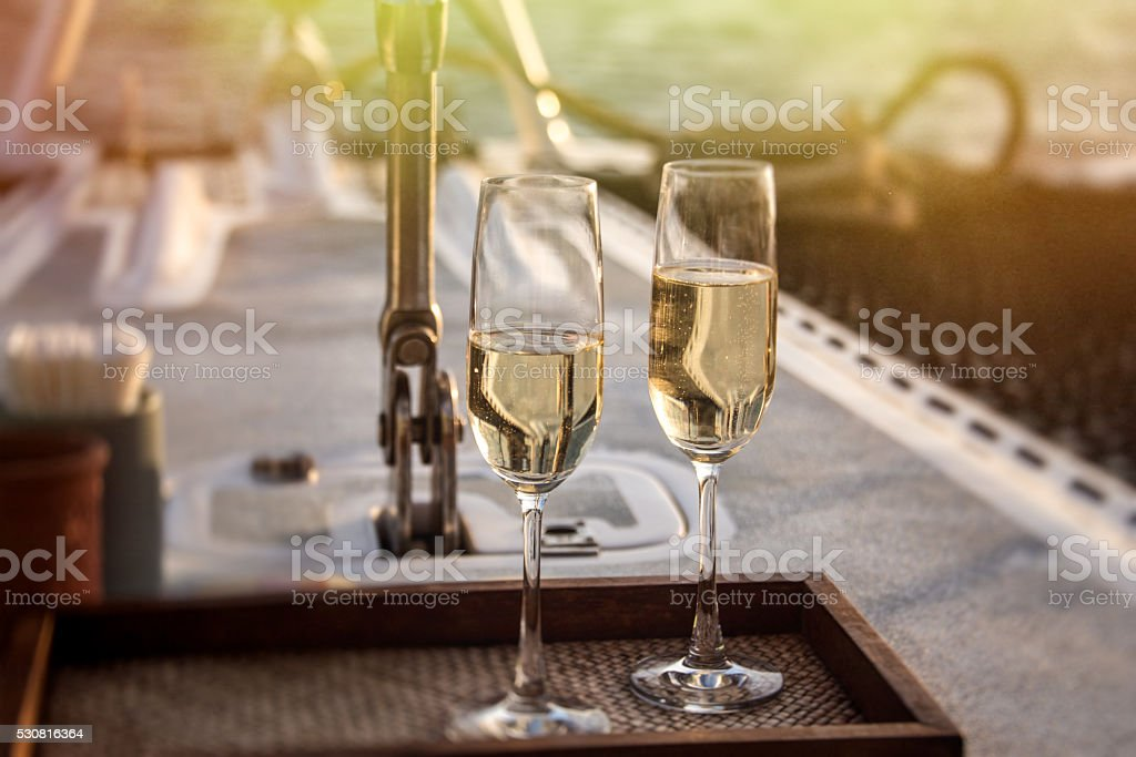 Champagne on the boat stock photo