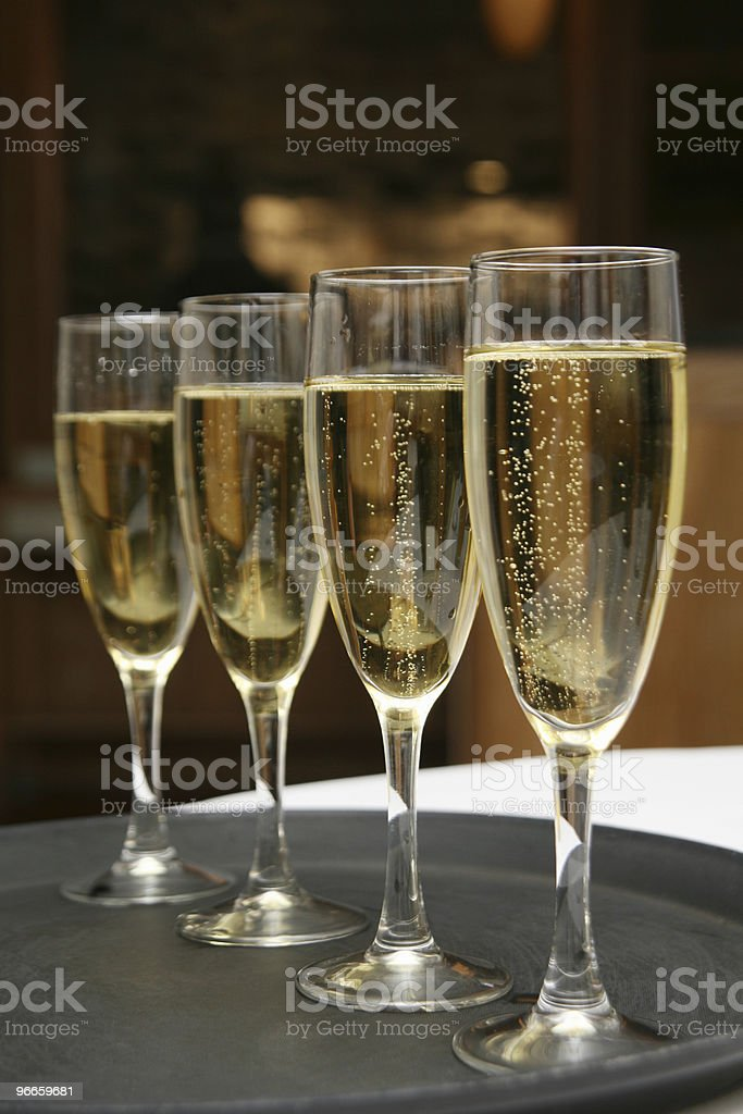 Champagne on Tray royalty-free stock photo