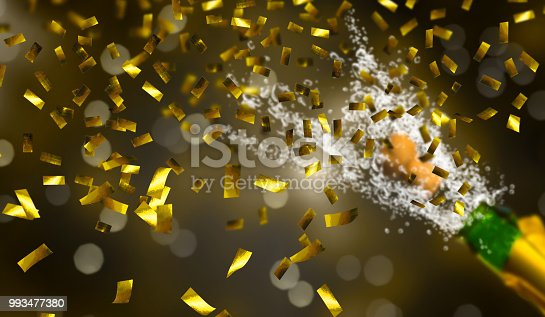 1051699126 istock photo champagne party with golden confetti 993477380