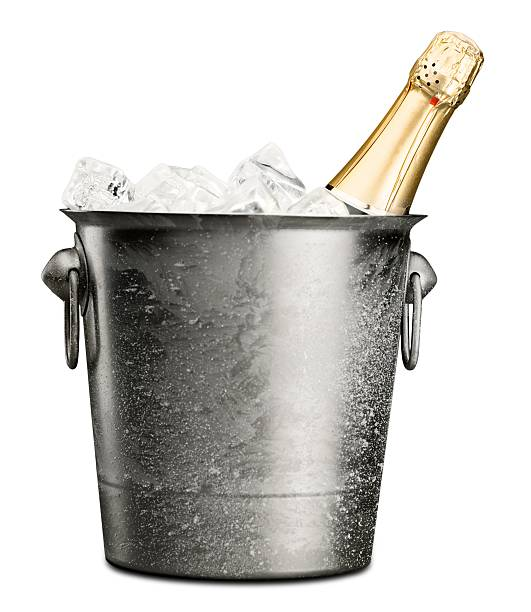 Champagne Bottle of Champagne in Ice Bucket cooler container stock pictures, royalty-free photos & images