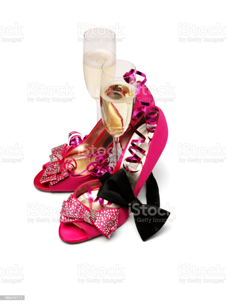 Champagne, Pink Shoes and Black Bow Tie royalty-free stock photo